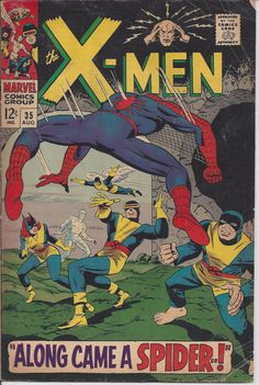 """This comic features an early meeting between the X-Men and Spider-Man, titled """"Along Came A Spider..!"""" In the story, Banshee calls to the X-Men for help against a mysterious spider creature. When the young mutants encounter Spider-Man, they mistake him for an enemy and a battle ensues. $19.95 on Etsy"""