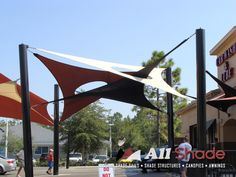 Unique, customizable and practical, patio shade sails, tensioned sails are the ultimate architectural shade design product. Sun Sail Shade, Shade Sails, Patio Shade Covers, Sail Canopies, Carport Designs, Canopy Architecture, Front Courtyard, Custom Shades, Shade Structure