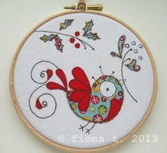christmas embroidered bird hoop