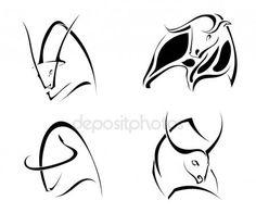 Скачать - Набор изображений быков. Абстрактные стилизованные Буффало на белый bac — стоковая иллюстрация #152462566 Logo Image, Cow Logo, Black And White Google, Bull Tattoos, Smile Wallpaper, Animal Symbolism, Celtic Patterns, Cow Art, School Art Projects