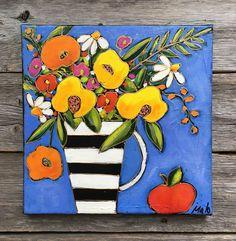 Original acrylic painting on canvas black and white flower Acrylic Painting Flowers, Abstract Flowers, Acrylic Painting Canvas, Gouache Painting, Abstract Canvas Art, Spring Art, Arte Pop, Whimsical Art, Flower Art