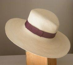 Genuine White/Ivory Fedora panama hat  long brim straw hat by RanaHats