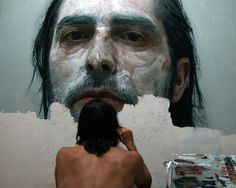 Incredible Face Painting By Eloy Morales With A Twist! Incredible Face Painting By Eloy Morales With A Twist! Eloy Morales, Matthieu Venot, Gottfried Helnwein, Hyper Realistic Paintings, La Face, Spanish Artists, Art Plastique, Graphic, Artist At Work