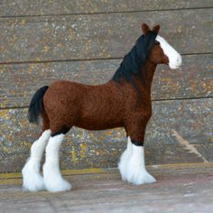 Horse - Needle Felted Clydesdale - animal sculpture by Teresa Perleberg