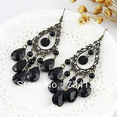 >> Click to Buy << ES073 New style Europe & America Popular Noble Jewelry Vintage Purple Water Drop Tassel Earrings (black) Free shipping #Affiliate