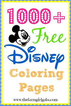1000+ Free Disney Coloring Pages for kids. #DisneySide www.thefarmgirlgabs.com
