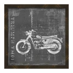 Bring chic appeal to your living room or den with this eye-catching giclee print, featuring a blueprint-inspired motorcycle motif.    ...