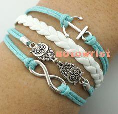 Infinity Bracelet,Two Owls Bracelet,Anchor Bracelet,Silver Charm Bracelet,Girlfriend Gift