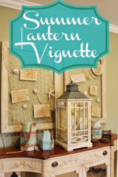 Summer Lantern Vignette by Miss Kopy Kat...Summer decorating ideas...painting items to give them a summery look...a tip for hanging sea shells invisibly...embellishing candles with shells and more.