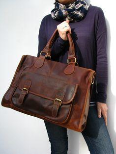 d5c468d015 Leather Handbag Laptop Pocket Bag Vintage Look Brown.  160.00