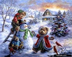 Christmas landscape by Nicky Boehme Christmas Scenes, Noel Christmas, Vintage Christmas Cards, Christmas Countdown, Christmas Pictures, Vintage Cards, Winter Christmas, All Things Christmas, Christmas Puzzle