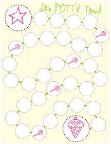 Cute sticker chart idea for potty training our stubborn girl. :-)