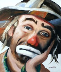 autographed Emmett Kelly Jr. 24x20 oil on canvas painting by RUSTY RUST / 14217 via Etsy