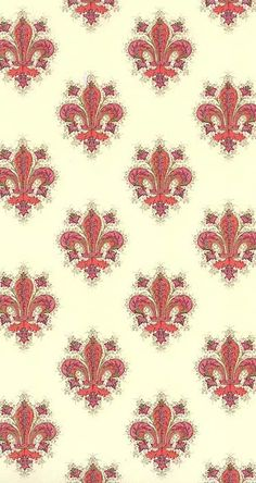 Red fleur de lis Christmas craft paper made in Italy
