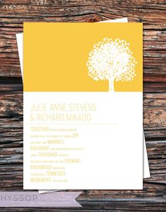 Printable/DIY - Tree of Love Sunshine Yellow Wedding Invitation & RSVP Set. $75.00, via Etsy.