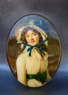 "RARE Grand CABOCHON ""Lady au Chapeau"" Authentique VINTAGE en Résine de 40 x 30 mm : Cabochons, demi-perles par kit-and-shop"