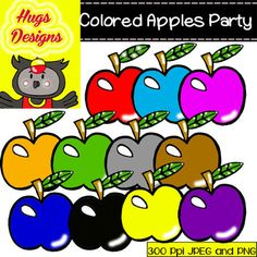 Colored Apples Party Cliparts Set for Personal and Commercial Use