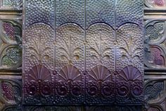 If you want a stunning one of a kind masterpiece from the period before 1900, that would be this decorative accent patterned wall relief. Framed in a superior and expensive imported custom Italian silver, gilt double frame. This creation is a purple violet lovers dream art. A gift the receiver will never forget !! One of the best art pottery glazed creations I have done in 20 years.  The gorgeous unique high relief pattern is William Morriss wheat field design. Morris was a turn of the…