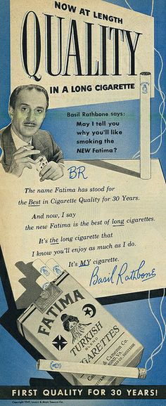 1949 Ad, Fatima Turkish Cigarettes, with Actor Basil Rathbone by classic_film, via Flickr