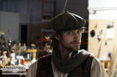 Actor Matthew Noonan, who plays an eclectic character by the name of Kenzie Graham, gives us a sideways glance before shooting on the underground headquarters set for Archangel from the Winter's End Chronicles. Photo by: Origami Wolf Productions. #steampunk #archangeltheseries