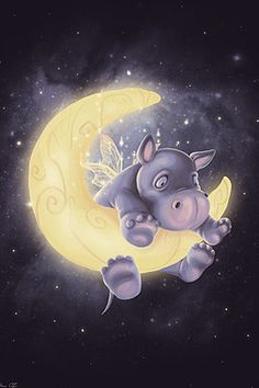 A baby hippo cartoon on the moon - Lovely Cartoon Illustrations by Anne Patzke Cute Hippo, Baby Hippo, Jolie Photo, Moon Art, Children's Book Illustration, Cartoon Illustrations, Live Wallpapers, Whimsical Art, Stars And Moon