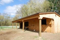 Shallowbrook Farm LLC -- Run-in Shed w/ attached stall and tack room.