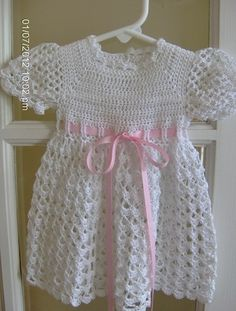 Infant / Baby Girl Crocheted Dress in White with Pink Ribbon   VelleMere - Clothing on ArtFire