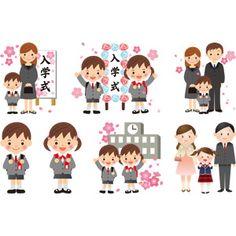 フリーイラスト, ベクター画像, AI, 学校, 入学式, 学生(生徒), 小学生, 学生服, 人物, 子供, 男の子, 女の子, 家族, 父親(お父さん), 母親(お母さん), 娘, 息子, 桜(サクラ)