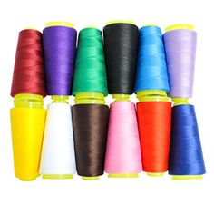 CurtzyTM 12 Piece Overlocking Polyester Sewing Machine Thread Cones 18000 yards * Read more reviews of the product by visiting the link on the image.