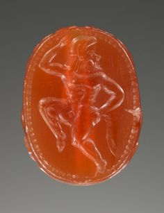 thegetty:  This tiny engraved gem with a dancing satyr is over...