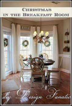 I like this for the dining room curtains - whispy and long, with the rods up high.