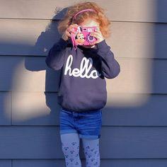 Hello Merch — Hello (Kids) Navy Raglan Pullover Size 4 or 6 for Tova $35