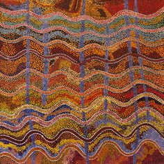 Robert Burton / Ngayuku ngura - My country  121 x 121 cm   This appears to be an aboringial painting from Australia, but it would be fun to try in knitting with variegated hand dyed wool.