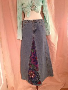 a3465934af OOAK Embellished Ladies Maxi Boho Festivall Anna Sui Jean Denim Skirt Beads  #fashion #clothing