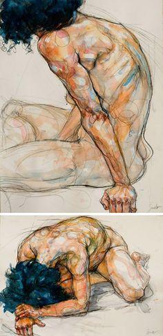 Sylvie Guillot (French, b. 1972), mixed media discreet nude female conté and watercolor mixed media drawings. sylvieguillot.com