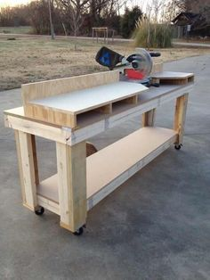 Woodworking Benches DIY Miter Saw Workbench by Warren! - DIY Miter Saw Workbench by Warren! Table Saw Workbench, Workbench Plans, Garage Workbench, Workbench Designs, Folding Workbench, Workbench Organization, Woodworking Workbench, Woodworking Crafts, Industrial Workbench