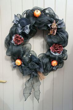 Halloween deco mesh wreath, Halloweenkrans