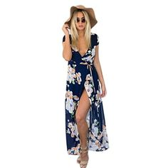 Chvity Women's Wrap Deep V-neck Overlay Floral Print Chiffon Long Maxi Dress (XL, Blue) Material: Polyester Dress Length: Full length Pattern: Floral Print Occasion: Casual, Party, Beach Garment Care: Hand-wash and Machine washable Wrap Dress Floral, Floral Chiffon, Maxi Dress With Sleeves, Floral Dresses, Print Chiffon, Floral Maxi, Tunic Dresses, Long Sleeve Short Dress, Short Sleeve Dresses