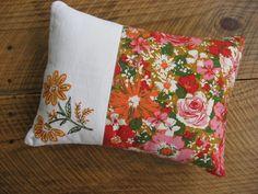 Retro Flowers Accent Pillow Cover Vintage Fabrics BlueAcresFarm