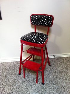 Redo on retro kitchen step stool chair in red and black and white polka dot.