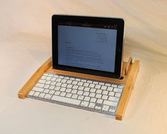 iPad Workstation - Keyboard - Tablet  Dock  - Maple -  iPad, IPhone, Tablet Bluetooth Keyboard Computer Desktop Workstation. $129.00, via Etsy.
