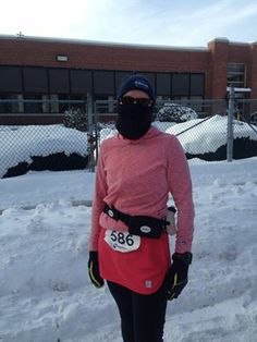 Meet Laura O. she's at the  Old Fashioned Ten Miler in Foxboro, MA definitely braving the chilly temps!