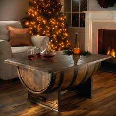 Handmade Oak Whiskey Barrel Coffee Table at Wine Enthusiast - Perfect for the Basement!