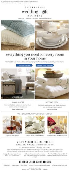 Pottery Barn Registry Completion Email 2014