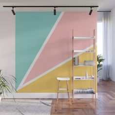 Tropical summer pastel pink turquoise yellow color block geometric pattern Wall Mural by Girly Trend - X Bedroom Wall Designs, Room Design Bedroom, Home Room Design, Bedroom Colors, Bedroom Decor, Wall Decor, Pastel Walls, Pastel Room, Pastel Pink