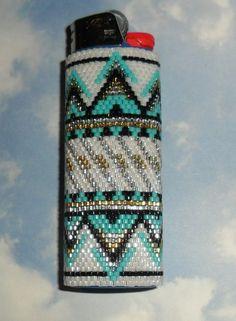 Sante Fe Beaded Lighter Case by SoaringHawkTraders on Etsy Peyote Stitch Patterns, Seed Bead Patterns, Beading Patterns, Native Beadwork, Native American Beadwork, Lighter Case, Bic Lighter, Beadwork Designs, Beaded Lanyards