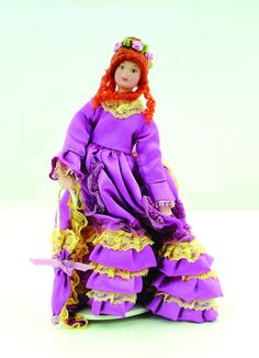 12th Scale Dolls House Porcelain Victorian Lady in Pink Dress DP092F | Hobbies | Streets Ahead