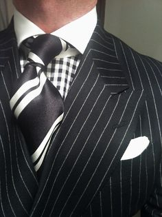 WIWT Double Breasted Pinstripe Suit Dressed For Success by Oger, MTM Gingham Check Shirt by Van Laack, Striped Tie by Richard James