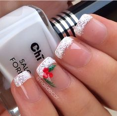 Christmas French tip with holly design