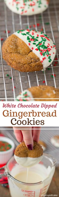 White Chocolate Dipped Gingerbread Cookies for Christmas, these are so perfectly soft and delicious!  Love this recipe!